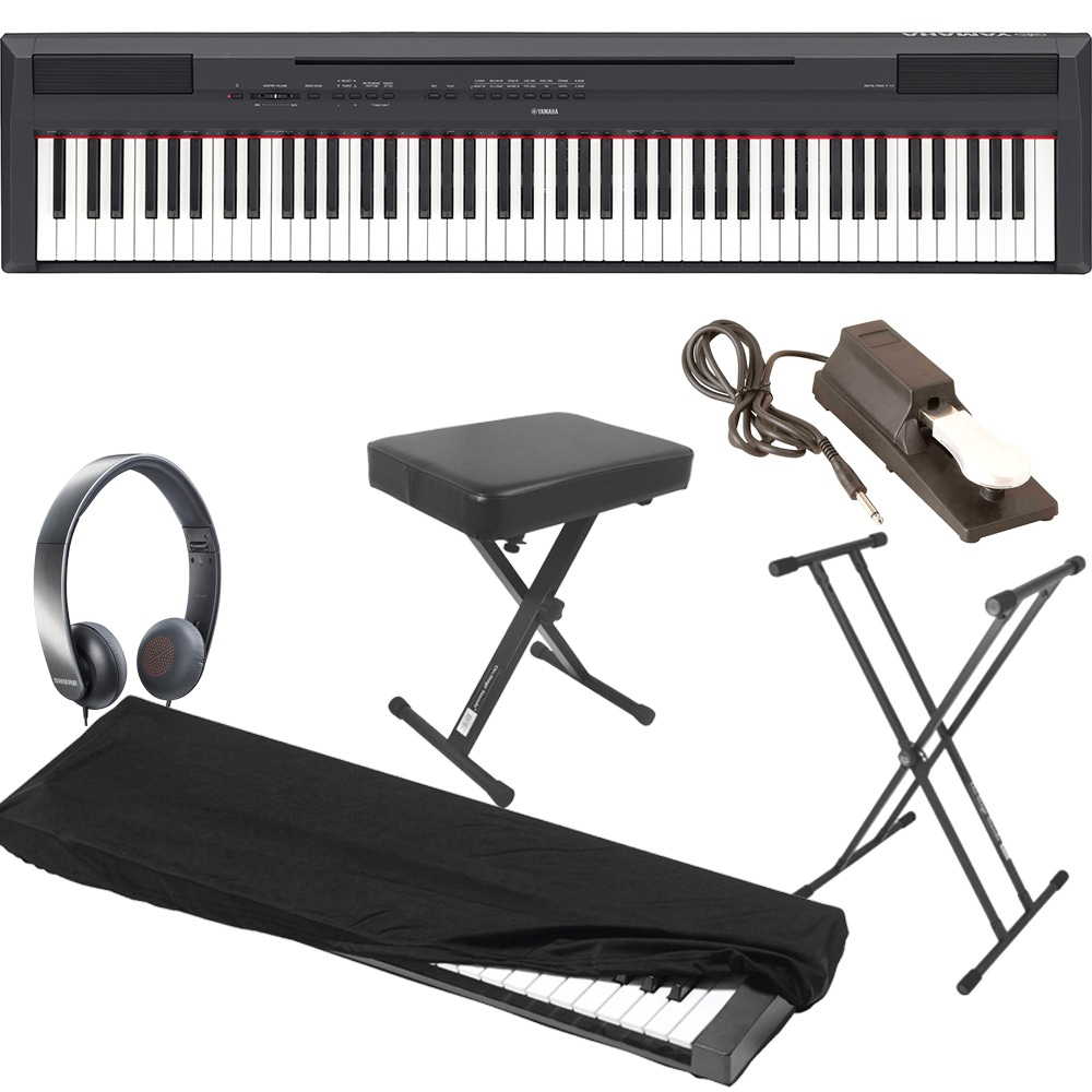 Yamaha P115 Black 88 Key Digital Piano With Stand Bench Sustain Pedal Dust Cover And Headphones