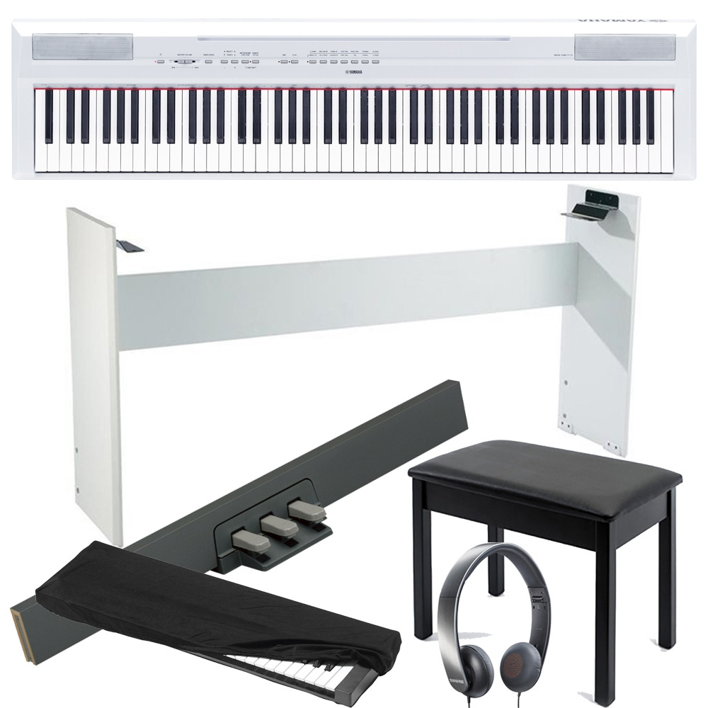 Surprising Yamaha P115 88 Key Digital Piano With Lp 5A 3 Pedal L 85 Stand Bench Cover And Headphones White Gmtry Best Dining Table And Chair Ideas Images Gmtryco