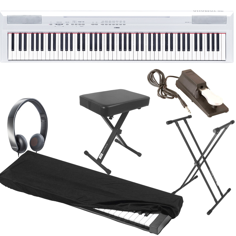 Yamaha P115 White 88 Key Digital Piano With Stand Bench Sustain Pedal Dust Cover And Headphones