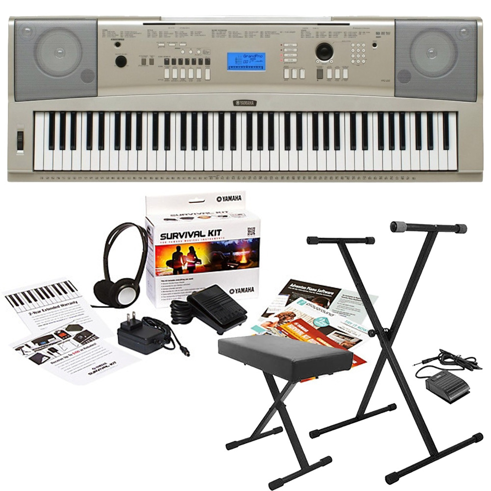 Yamaha Ypg 235 76 Key Keyboard With Survival Kit D2 Stand Bench And Sustain Pedal