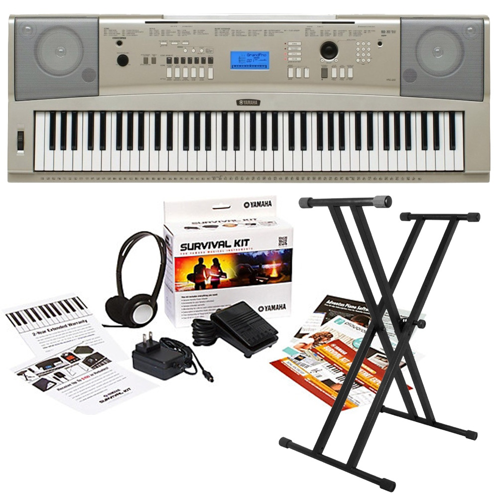 Yamaha Ypg 235 76 Key Keyboard With Survival Kit D2 And Stand