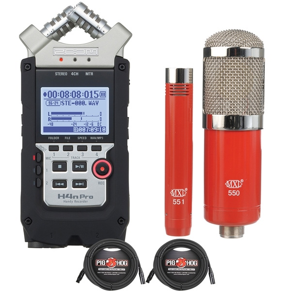 Zoom H4n Pro Handy Recorder with MXL Condenser Microphone Kit and XLR Cables