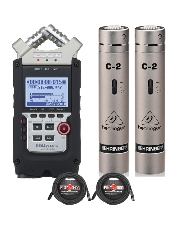 Zoom H4n Pro Handy Recorder with Behringer C-2 Condenser Microphones and 25ft XLR Cables