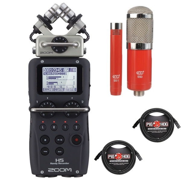 Zoom H5 Portable Handheld Recorder with MXL Microphone Set and XLR Cables