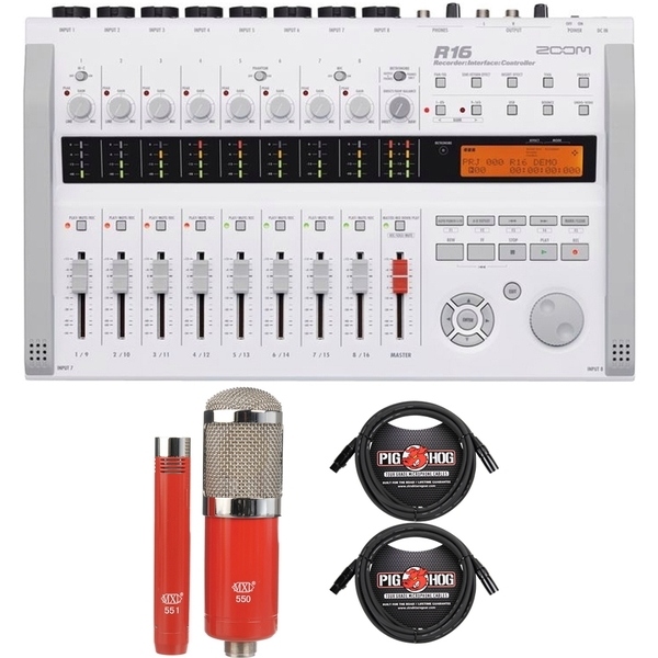 Zoom R16 Multitrack Recording Interface with MXL Microphone Set and XLR Cables