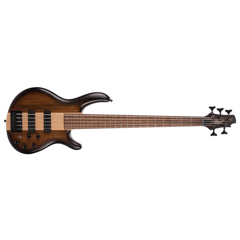 Cort C5 Plus OVMH 5-String Bass, Ovangkol Top, Mahogany Wings, Antique Brown Burst