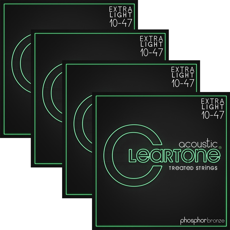 4 Sets of Cleartone 7410 Acoustic Guitar Strings, Phosphor Bronze, Coated, Extra Light (10-47)