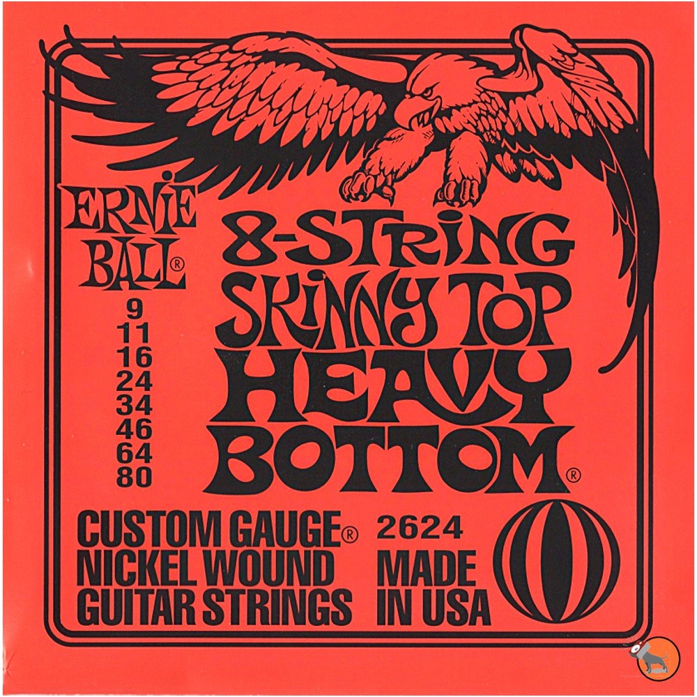 ernie ball 2624 8 string skinny top heavy bottom electric guitar strings 9 80. Black Bedroom Furniture Sets. Home Design Ideas