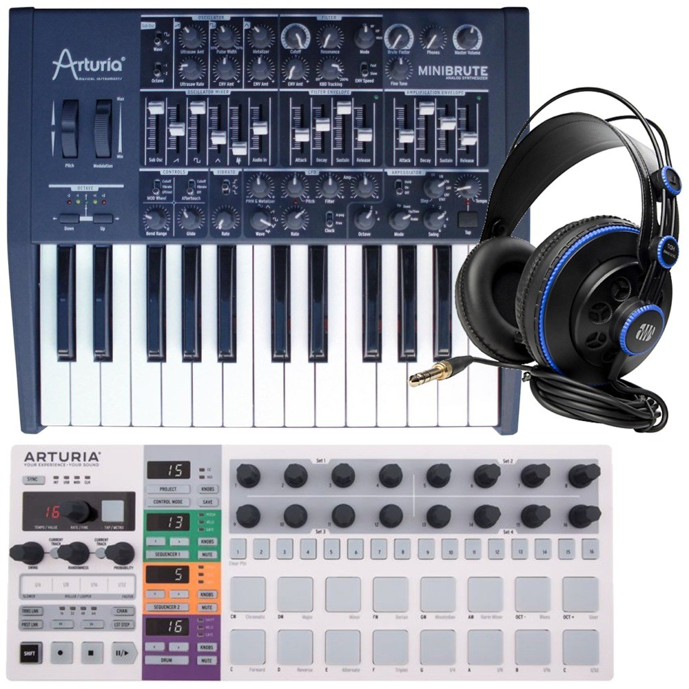arturia minibrute synth keyboard with beatstep pro midi drum controller step sequencer. Black Bedroom Furniture Sets. Home Design Ideas