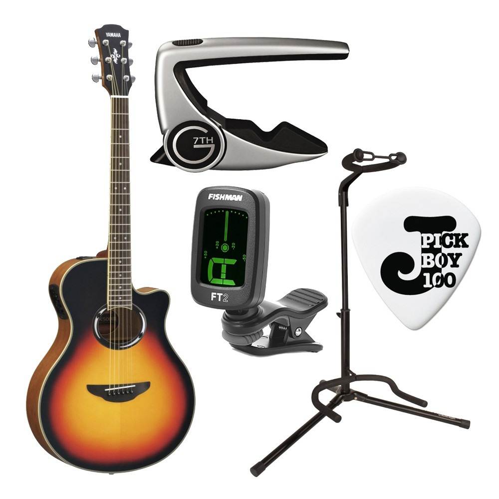 yamaha apx500iii thinline body acoustic electric guitar in vintage sunburst with capo tuner. Black Bedroom Furniture Sets. Home Design Ideas