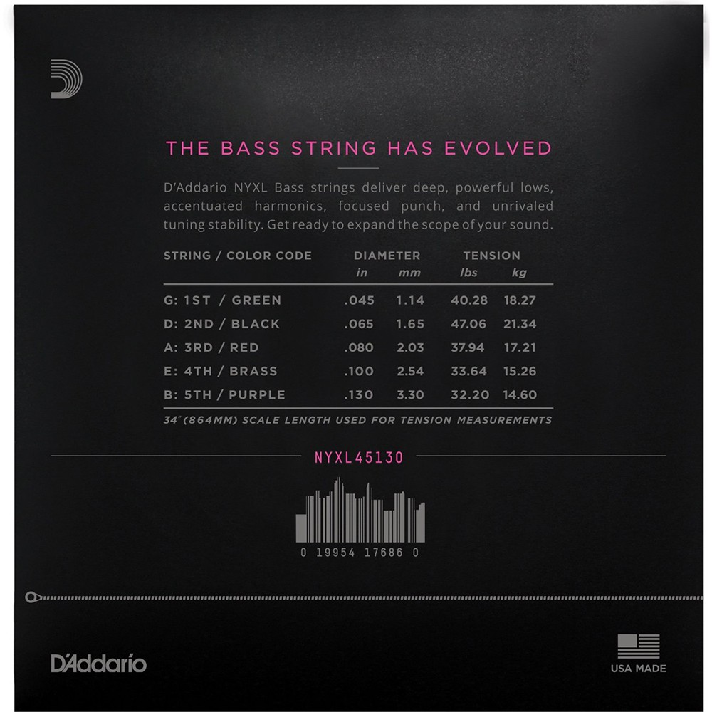 Addario NYXL 45130 Long Scale Regular Light 5-String Bass Strings ...
