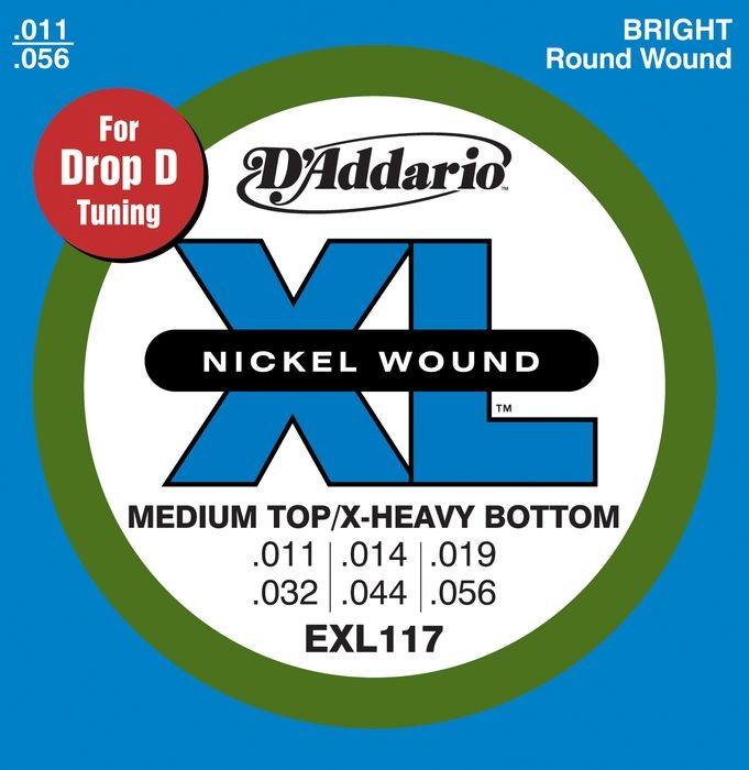 10 sets pack of d 39 addario exl117 11 56 electric guitar strings drop d tuning. Black Bedroom Furniture Sets. Home Design Ideas