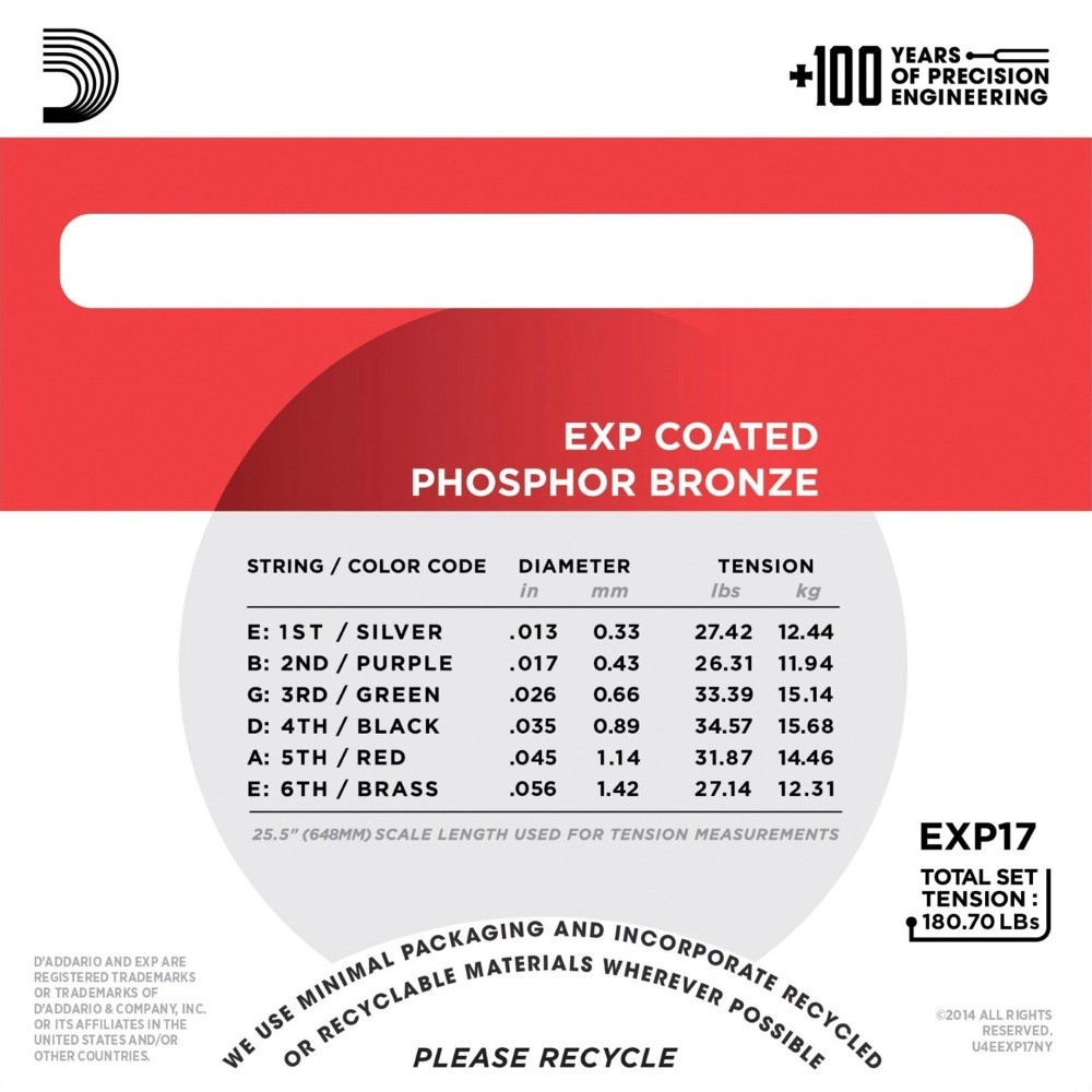d 39 addario exp17 acoustic guitar medium coated phosphor bronze strings 13 56 1 set. Black Bedroom Furniture Sets. Home Design Ideas