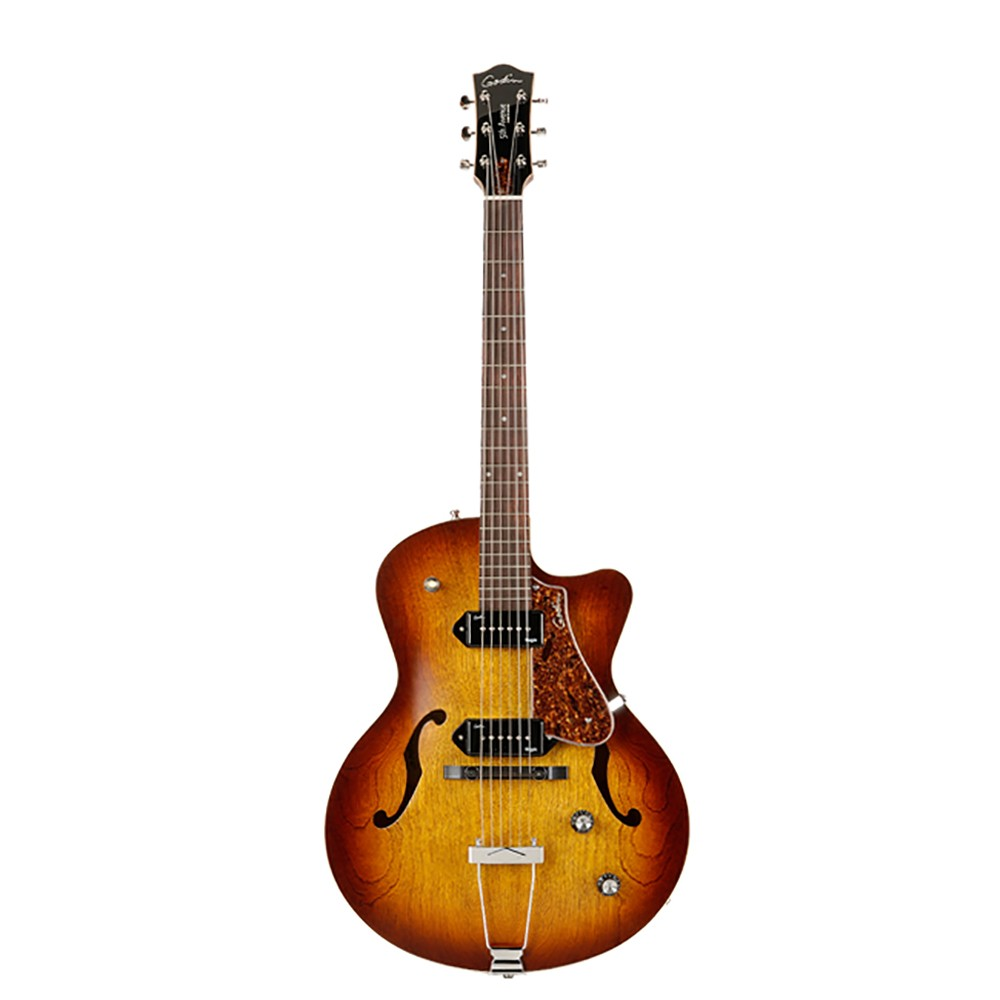 godin 5th avenue cw kingpin ii hollowbody cutaway electric guitar in cognac burst. Black Bedroom Furniture Sets. Home Design Ideas