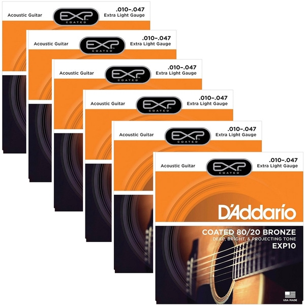 6 Sets of D'Addario EXP10 Coated 80/20 Bronze Acoustic Guitar Strings, Extra Light (10-47)