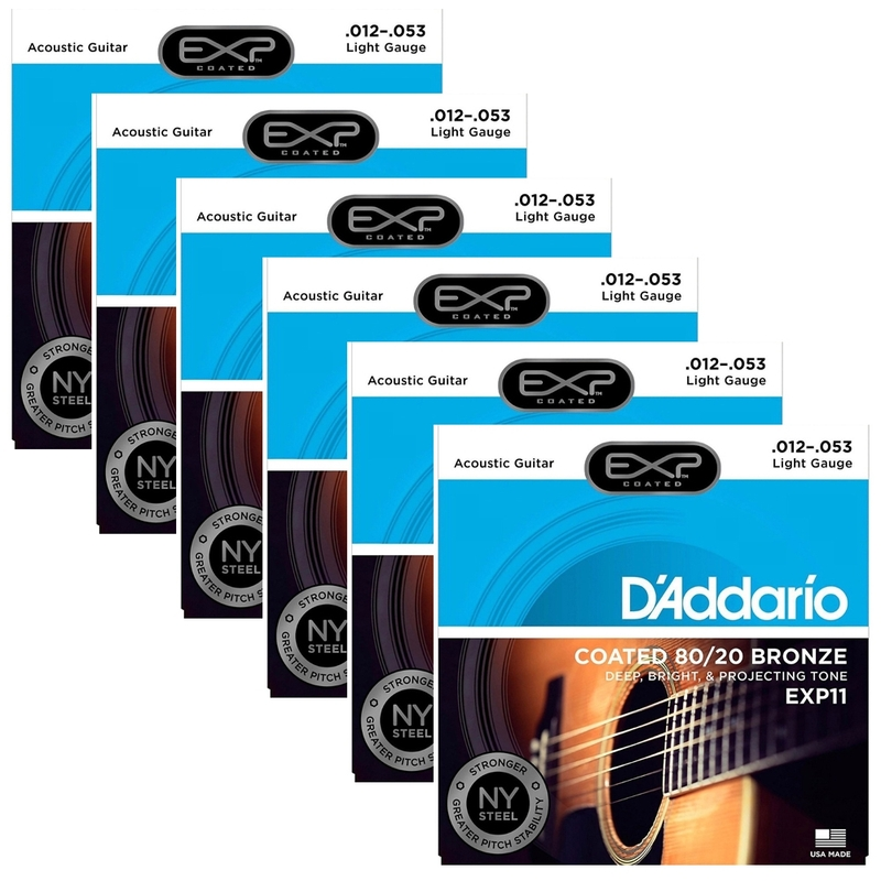 6 Sets of D'Addario EXP11 Coated 80/20 Bronze Acoustic Guitar Strings, Light (12-53)