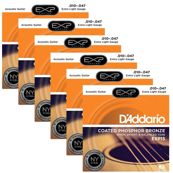 6 Sets of D'Addario EXP15 Coated Phosphor Bronze Acoustic Guitar Strings, Extra Light (10-47)
