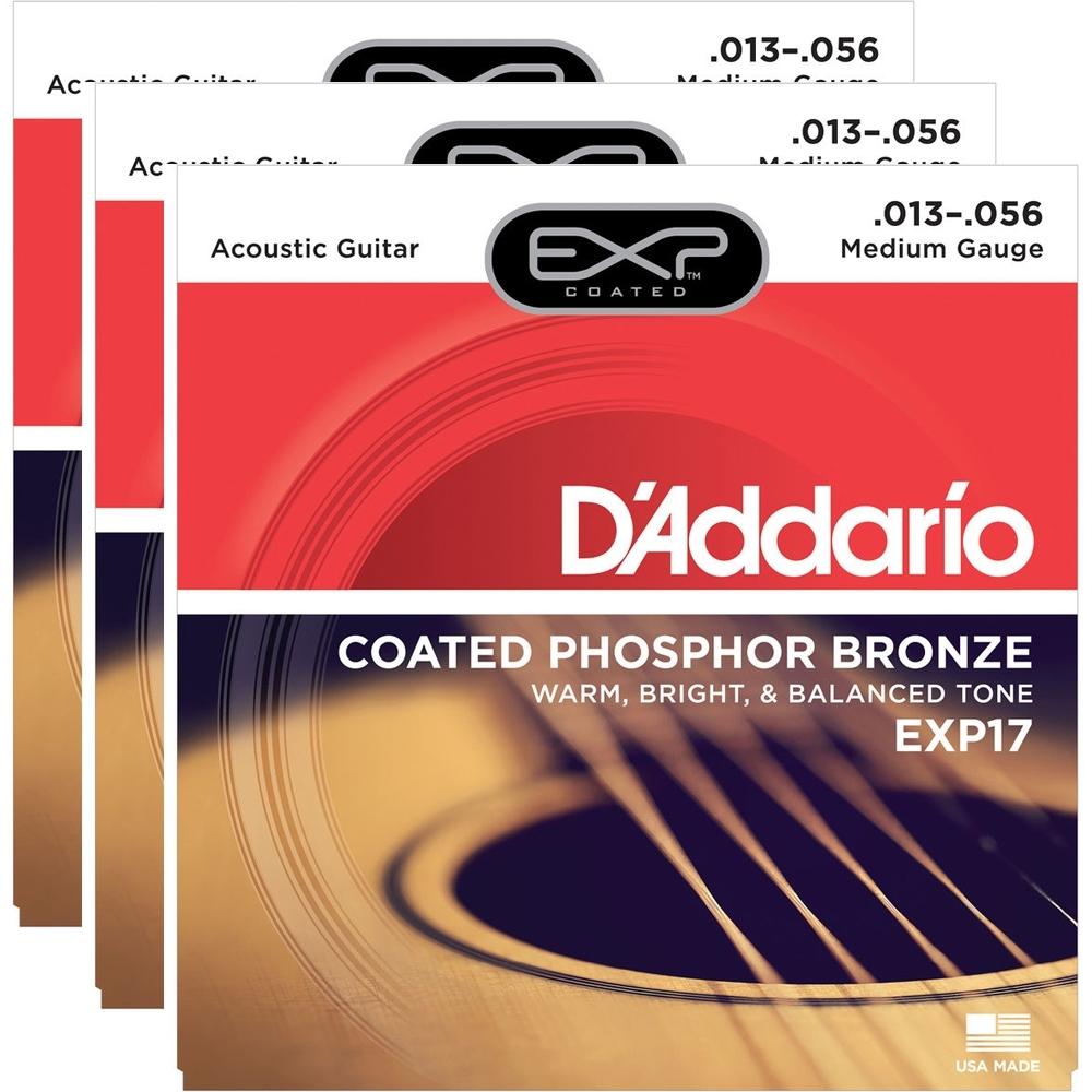 D/'Addario EXP17 Coated Phosphor Acoustic Guitar Medium 13-56 3-Pack