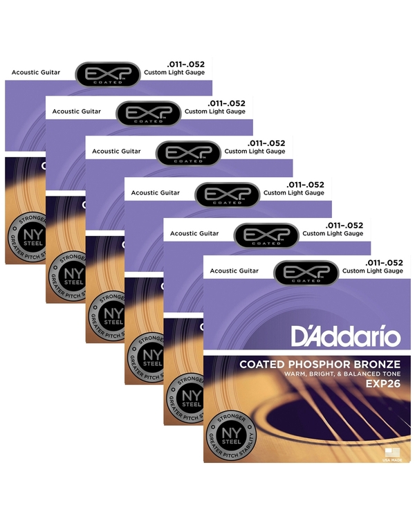 6 Sets of D'Addario EXP26 Coated Phosphor Bronze Acoustic Guitar Strings, Custom Light (11-52)