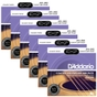 6 Sets of D'Addario EXP26 Coated Phosphor Bronze Acoustic Guitar Strings, Custom Light (11-52)