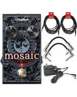 Digitech Mosaic Polyphonic 12-String Guitar Effect Pedal with Power Supply and Cables