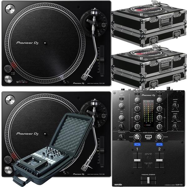 Pioneer DJM-S3 Serato Mixer + PLX-500 Direct Drive Turntables w/ Cases & Mixer Bag