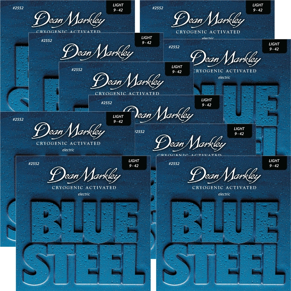 pitbull audio 10 pack dean markley 2552 blue steel electric guitar strings light 9 42. Black Bedroom Furniture Sets. Home Design Ideas