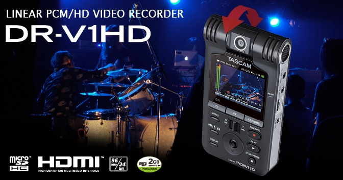 Tascam DR-V1HD Linear PCM Handheld Digital Video Audio Recorder SD card Included