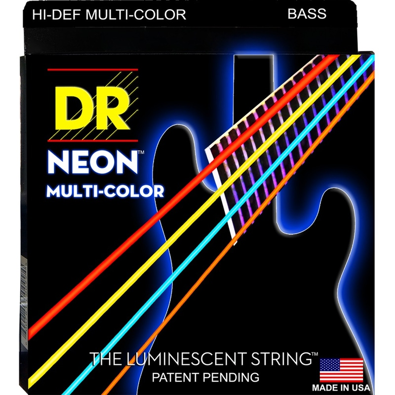 DR NMCB-45 K3 Neon Multi-Color Coated Medium Electric Bass Strings (45-105)