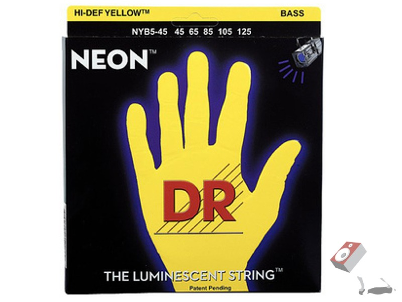 DR 5 string bass strings neon yellow
