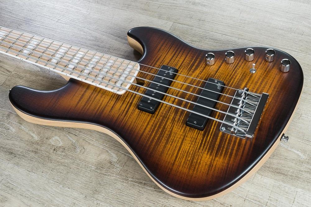Mayones Jabba Custom 5 5-String Bass, Amber Burst, Birdseye Maple Fretboard