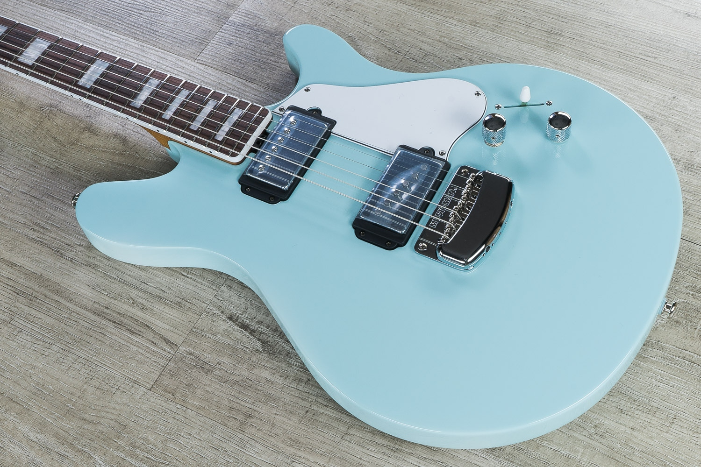 Ernie Ball Music Man Bfr Valentine Guitar Custom Baby Blue Roasted Flame Maple Neck G89386