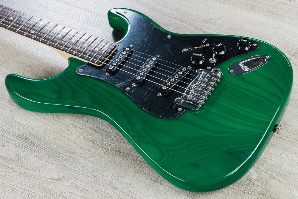 G&L USA S-500 Electric Guitar, Rosewood Fingerboard, Hard Case - Clear Forest Green