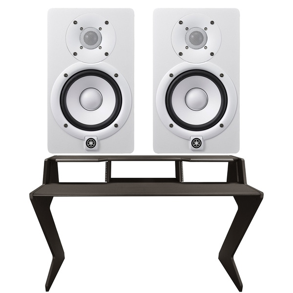 Ultimate Support Nucleus-Z Explorer Studio Desk with Yamaha HS5 Studio Monitor Pair (White)