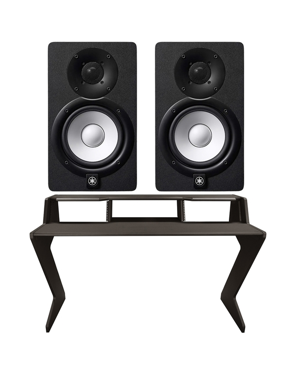 Ultimate Support Nucleus-Z Explorer Studio Desk with Yamaha HS7 Studio Monitor Pair (Black)