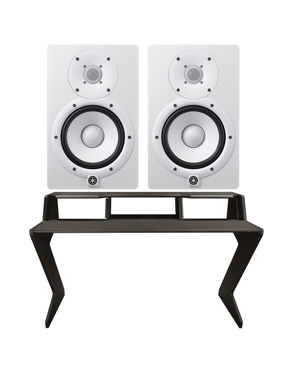 Ultimate Support Nucleus-Z Explorer Studio Desk with Yamaha HS7 Studio Monitor Pair (White)