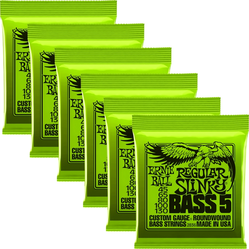 6-Pack Ernie Ball 2836 Regular Slinky 5-String Nickel Wound Electric Bass Strings (45-130)