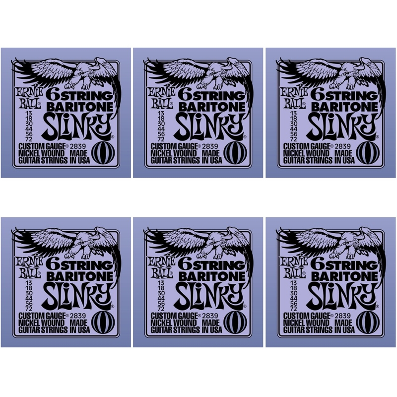 6-Pack Ernie Ball 2839 6-string Baritone Slinky Electric Guitar Strings with Small Ball End 29 5/8 Scale (13-72)
