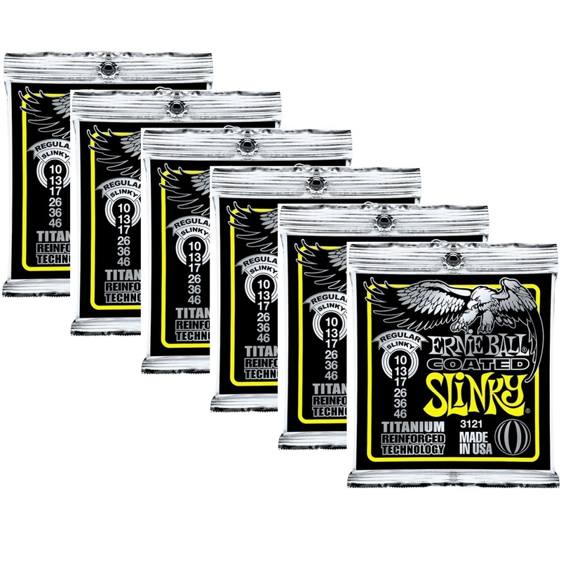 6-Pack Ernie Ball 3121 Coated Electric Titanium RPS Regular Slinky Guitar Strings (10-46)