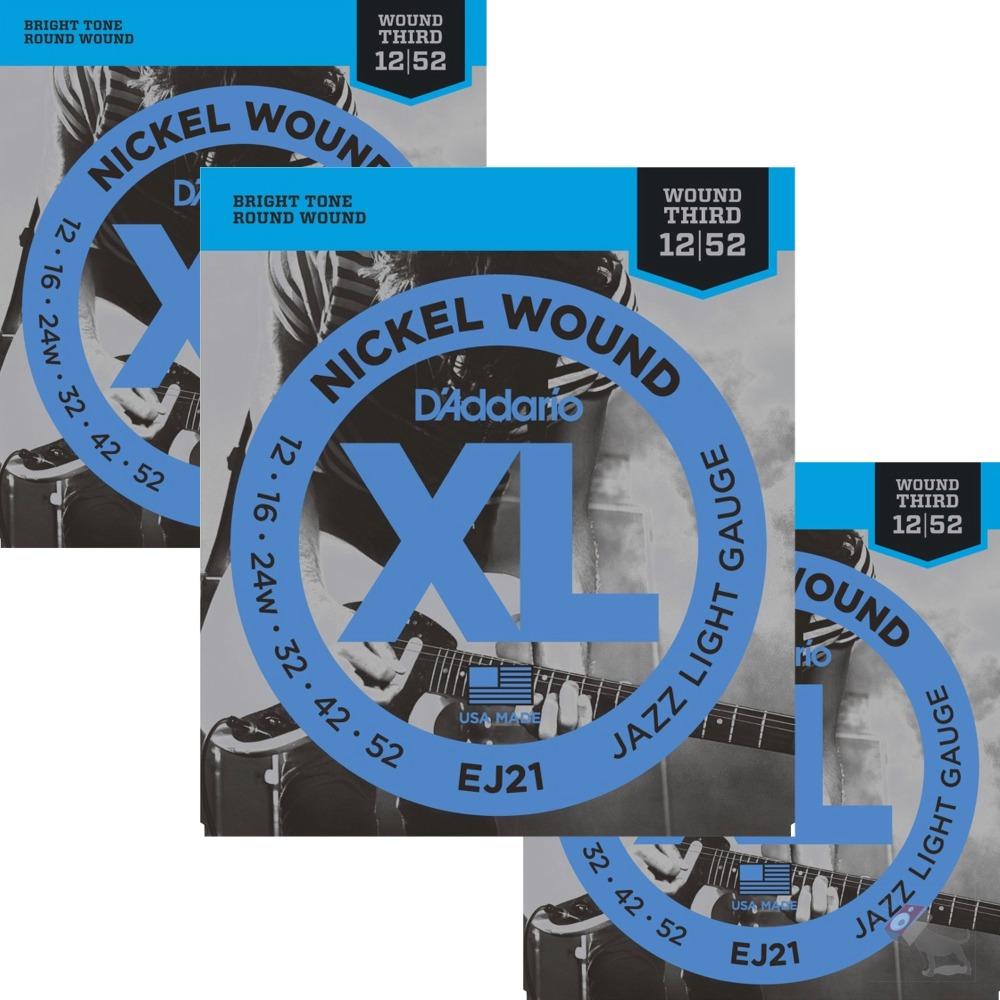 3 sets d 39 addario ej21 nickel wound jazz light gauge electric guitar strings ebay. Black Bedroom Furniture Sets. Home Design Ideas