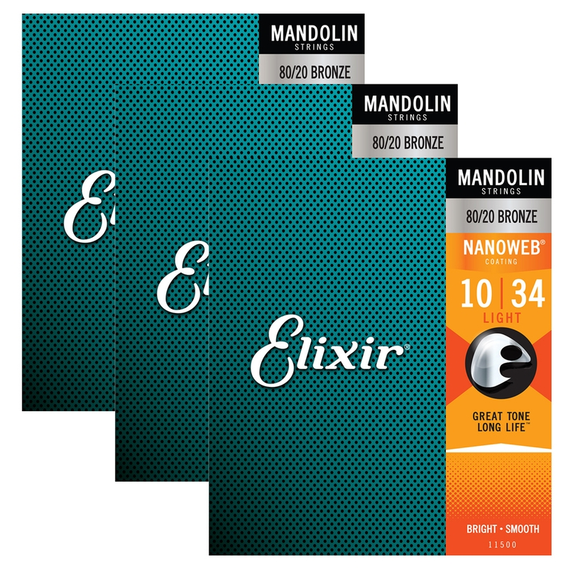 Elixir Nanoweb Light Mandolin Strings 11500 3 Sets 10-34
