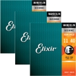 3 sets 11525 Elixir Strings Mandolin Strings Medium,Acoustic NANOWEB Coating 11-40