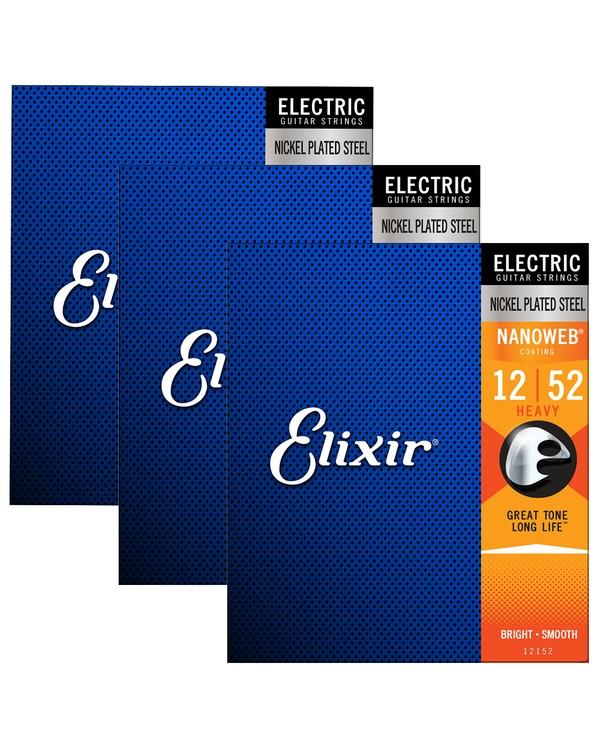 3 Packs of Elixir 12152 Nanoweb Heavy Electric Guitar Strings (12-52)