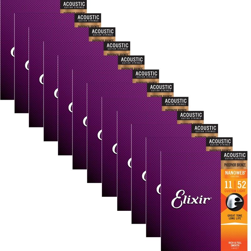 Elixir Nanoweb Phosphor Bronze Custom Light Acoustic Guitar Strings 16027 12 Sets