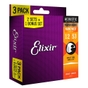 Elixir 16545 Bonus Pack (3 Sets Total) Nanoweb Light Phosphor Bronze Acoustic Guitar Strings (12-53)