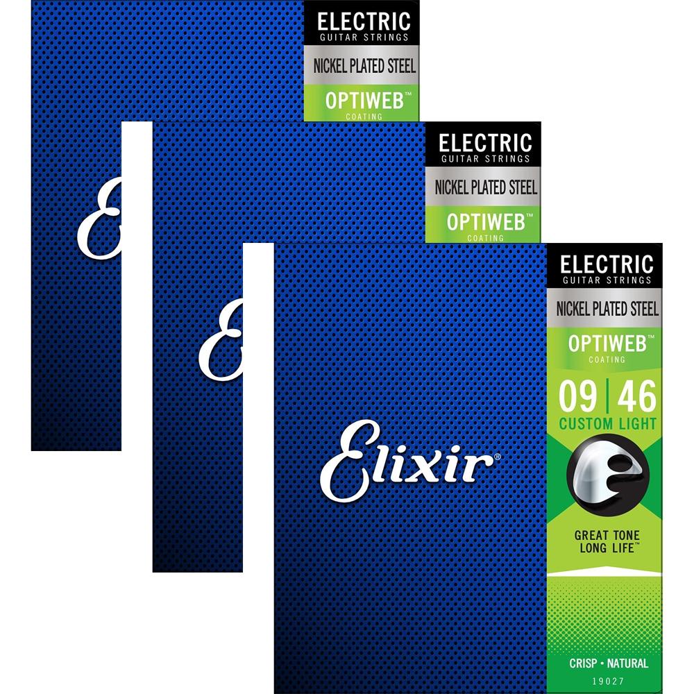 3 Sets Elixir 19027 Electric Guitar Strings w//OPTIWEB Coating Custom Light 9-46