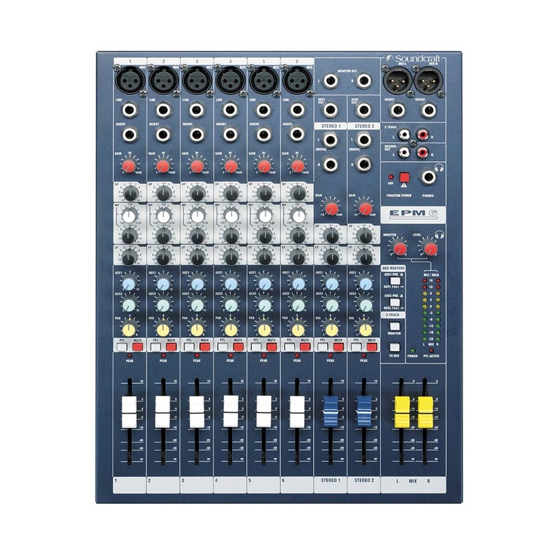 Soundcraft EPM6 6-Channel Mixer (6 Mono, 2 Stereo) with 6 Mic Preamps