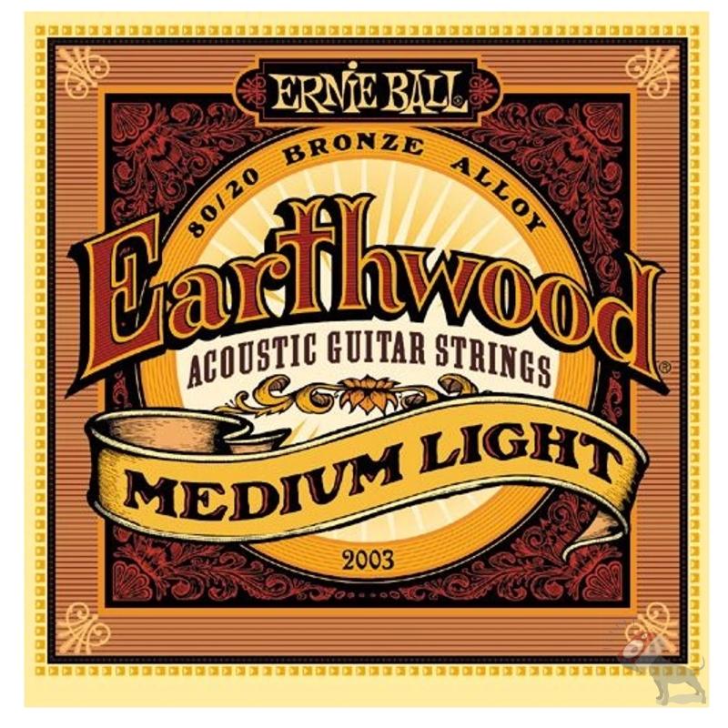 Ernie Ball 2003 Earthwood 80/20 Bronze Medium Light Acoustic Strings (12-54)