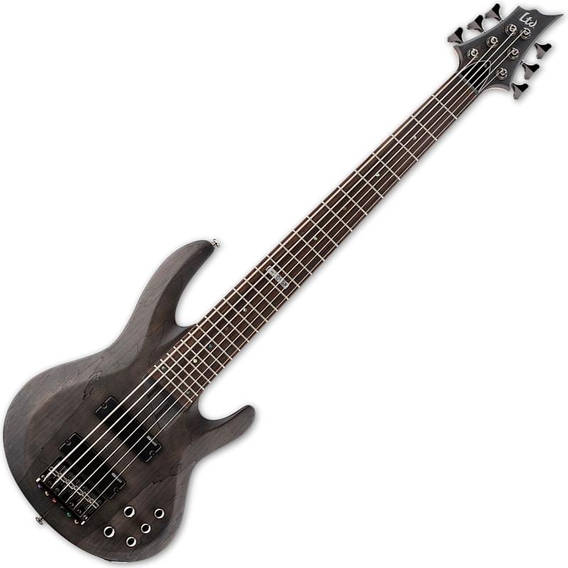 ESP LTD B-206SM B Series 6-String Bass, Spalted Maple Top - See Thru Black Satin Finish