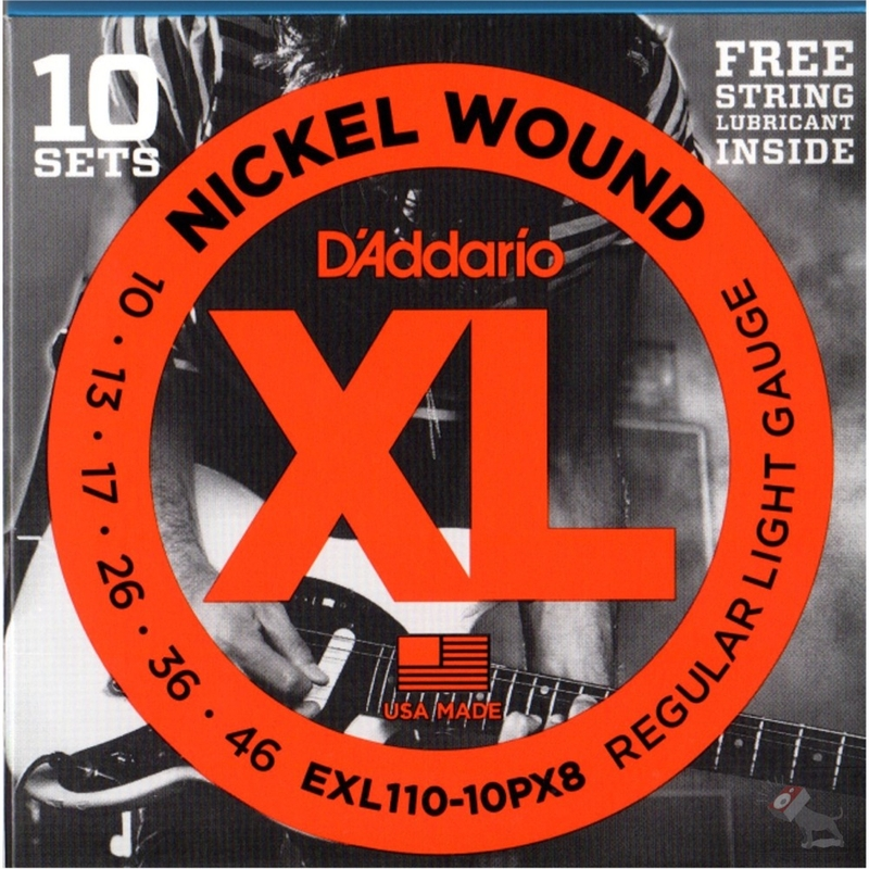 D'Addario 10 sets EXL110-10PX8 Regular Light Gauge Guitar Strings